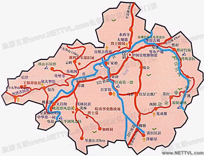 泾县旅游地图 安徽泾县景点分布图