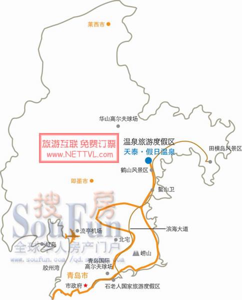 青岛旅游地图 青岛天泰滑雪场地图   青岛天泰滑雪场(点击上图放大)图片
