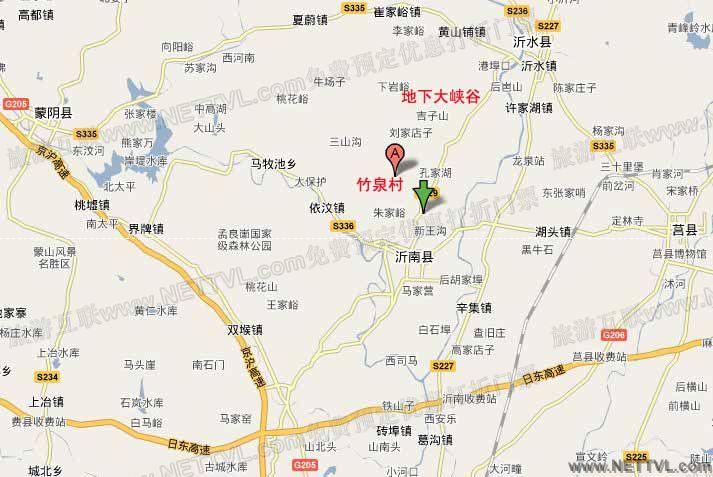 竹泉村地图(沂南竹泉村地图