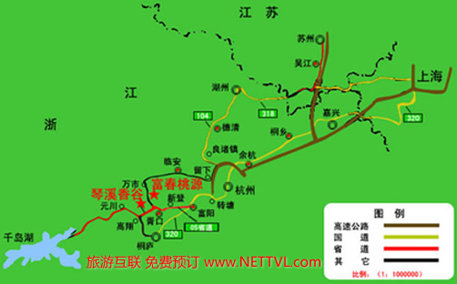 富阳富春桃源地图(桐庐琴溪香谷景区地图