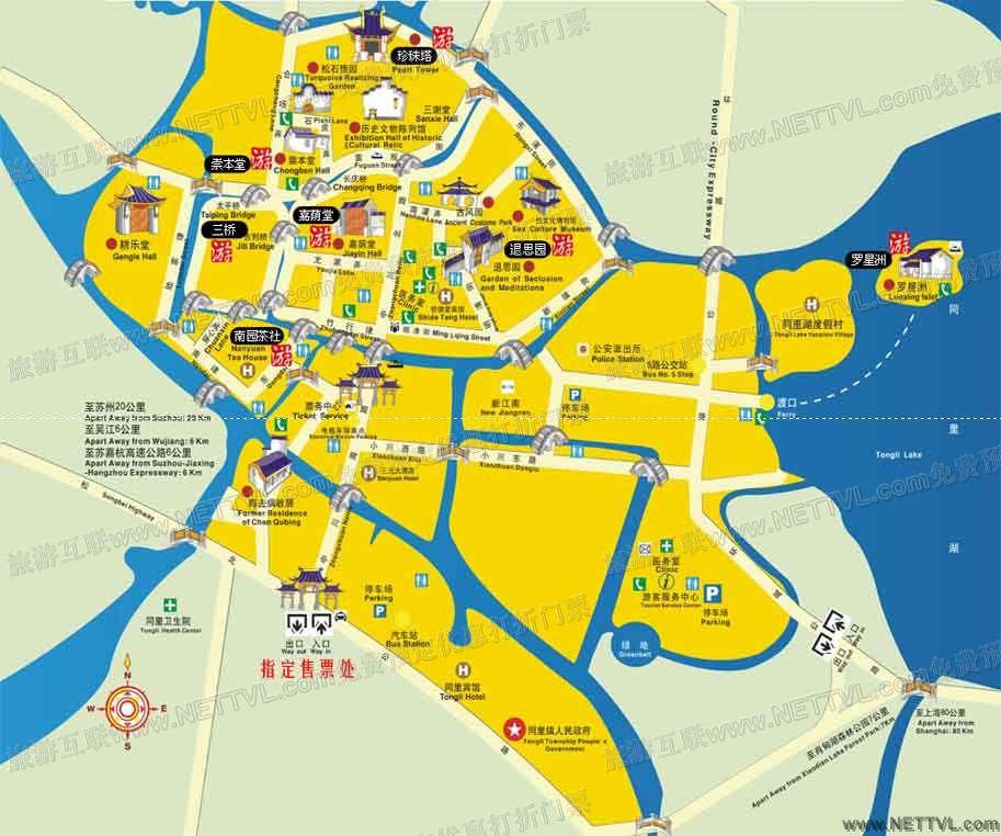 同里地图(同里古镇导游地图