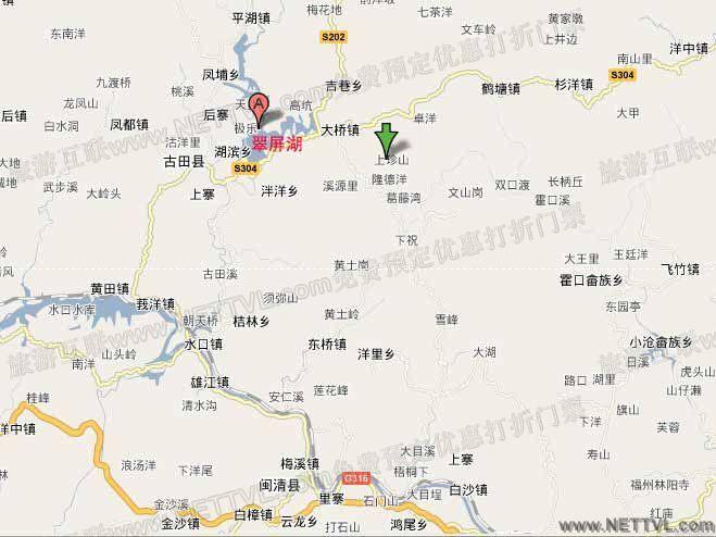 翠屏湖五龙景区地图