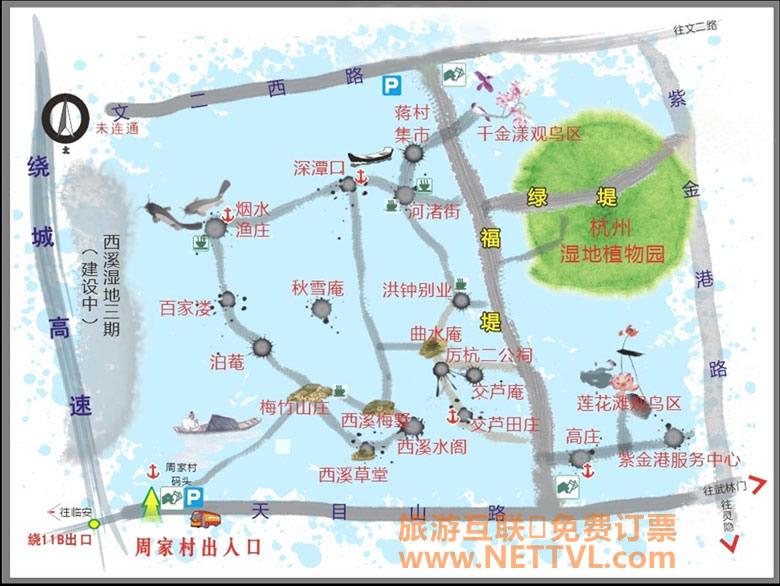 杭州西溪湿地导游图_西溪湿地路线图_旅游地图【旅游