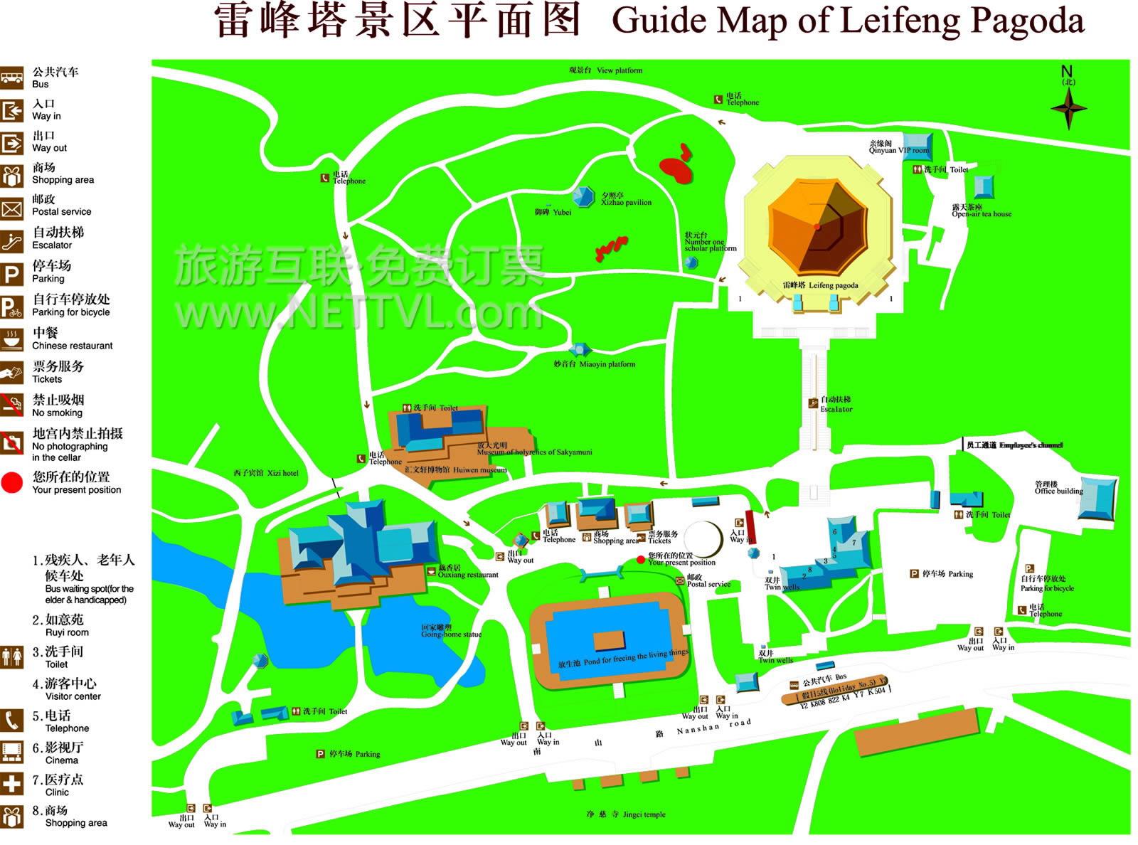 西湖雷峰塔导游图 杭州雷峰塔平面图