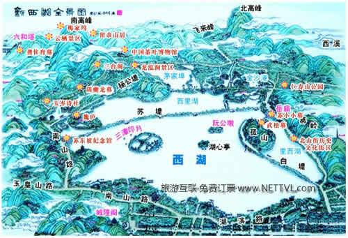 西湖景点地图 西湖旅游完全攻略 2017杭州西湖景点