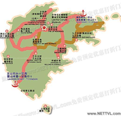 秀山岛地图(舟山秀山岛旅游景点分布图