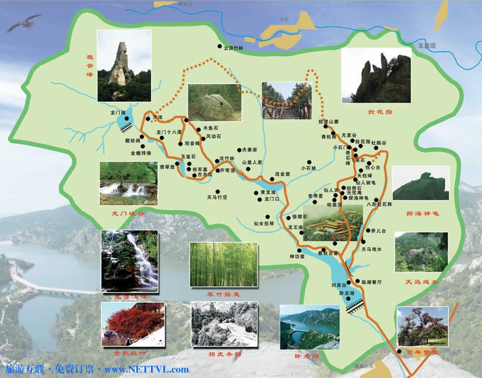 烟台招虎山导游图 海阳招虎山森林公园路线图