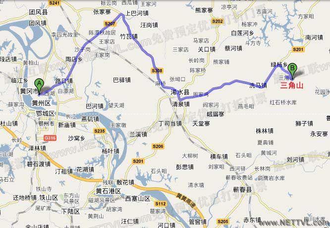 三角山地图(浠水三角山国家森林公园交通图