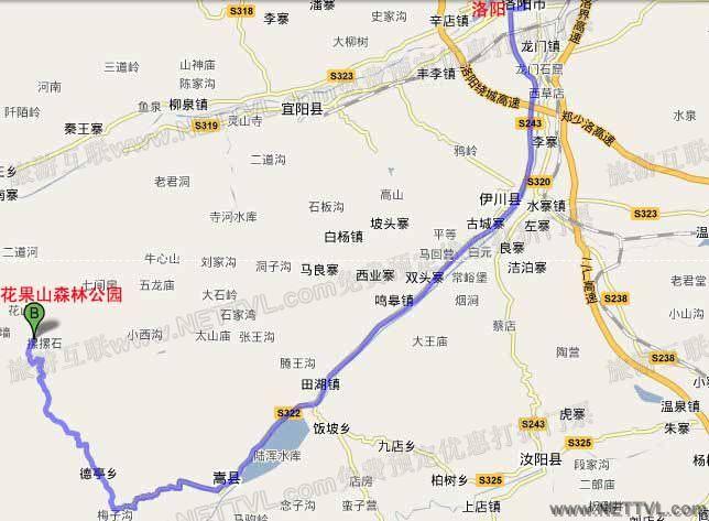 洛阳花果山交通地图
