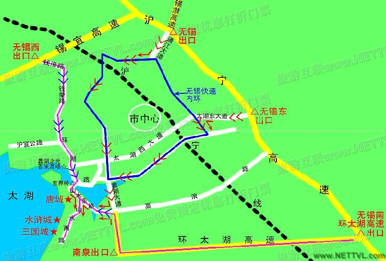 三国城地图(无锡三国城交通地图