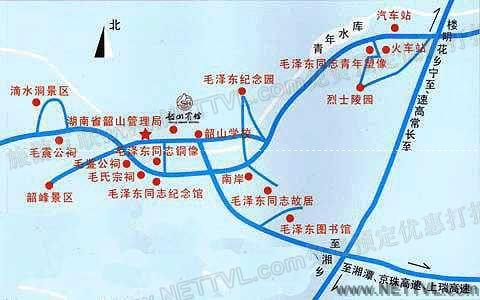 韶峰地图 湘潭韶山韶峰交通地图