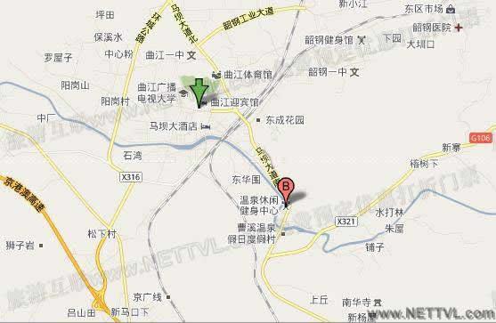 南华温泉地图_韶关南华温泉大酒店交通地图_2017曲江.