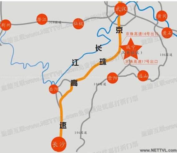 咸宁温泉地图(汉商咸宁温泉山庄交通地图