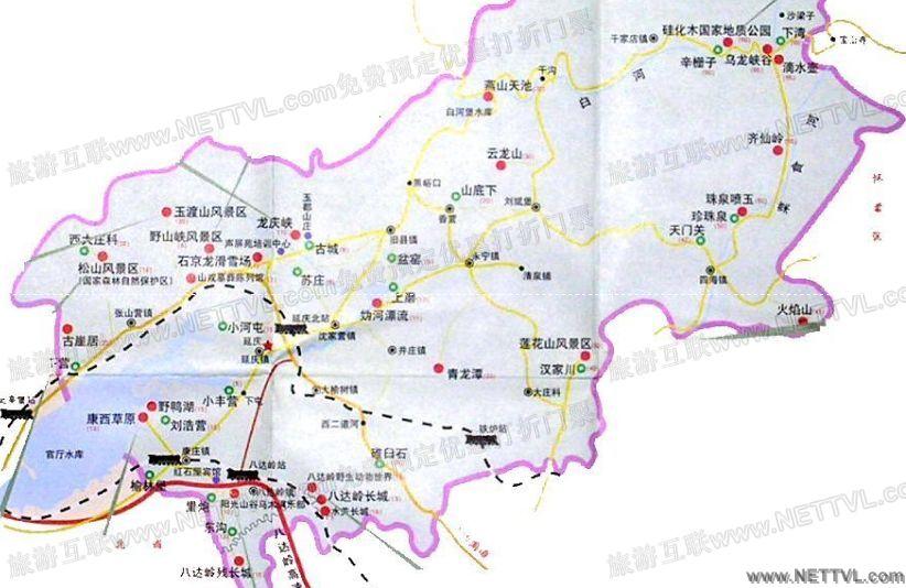 延庆旅游景点地图_延庆旅游景点分布图【旅游互联】
