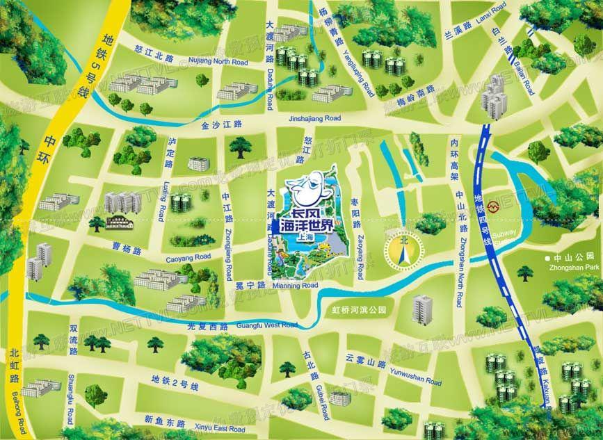 上海长风海洋世界地图_上海长风海洋公园交通地图