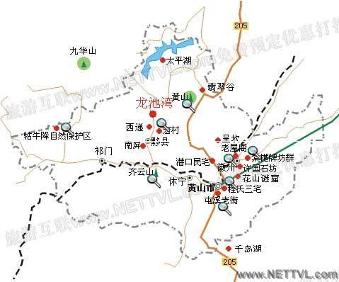 黄山龙池湾地图(黟县龙池湾交通地图