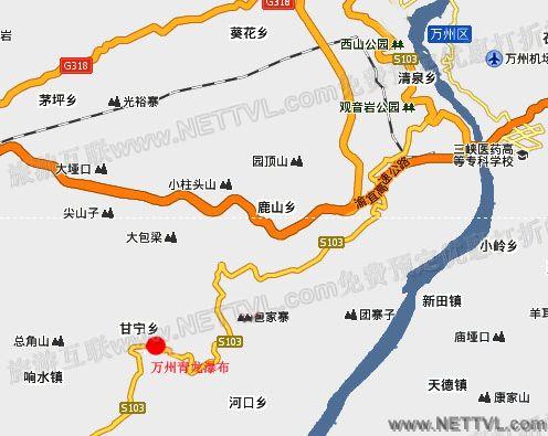 万州青龙瀑布地图(重庆青龙瀑布交通地图