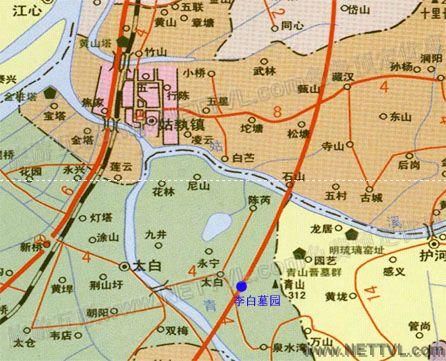 李白墓园地图(当涂县李白墓园交通地图