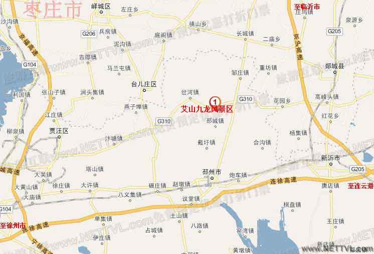 艾山九龙景区地图(邳州艾山九龙风景区交通地图
