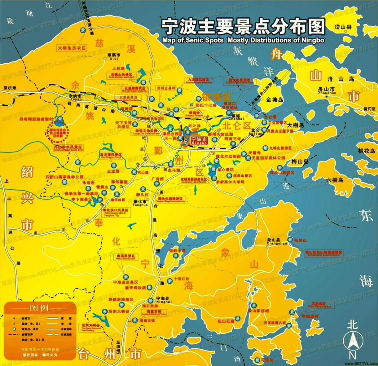 宁波旅游景点分布图_宁波游玩景点地图【旅游互联】