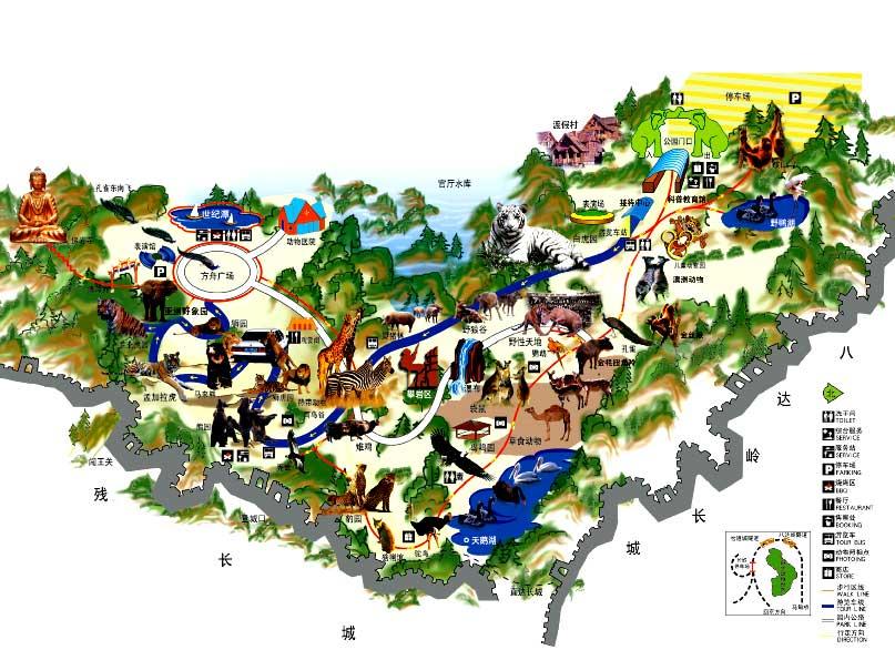 八达岭野生动物园地图(北京八达岭野生动物世界导游图
