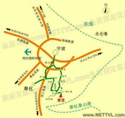 黄贤森林公园地图_奉化黄贤森林公园交通地图【旅游