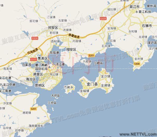 海上观金门地图(海上看金门游船交通地图