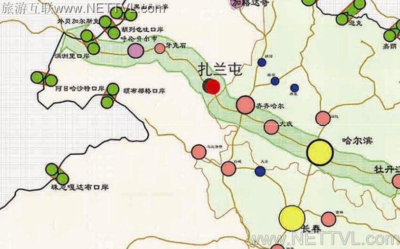 满洲里手绘地图