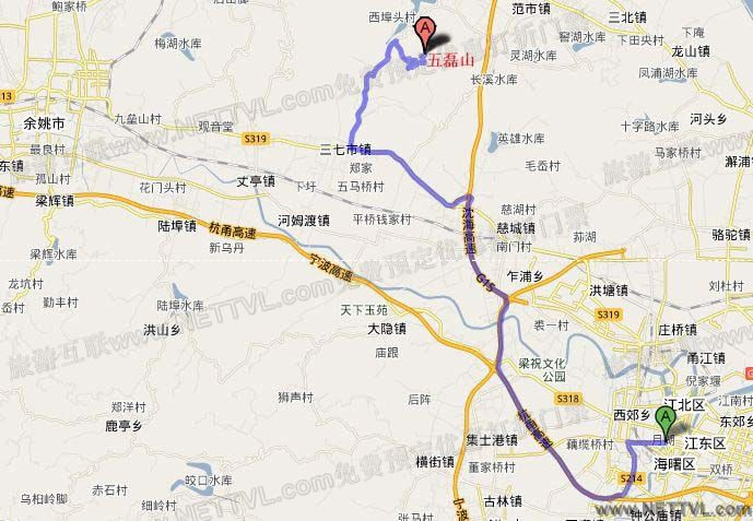 旅游地图 景点交通图 浙江旅游地图 五磊山地图   慈溪五磊山风景区
