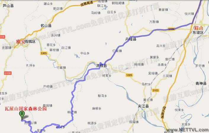 瓦屋山地图(眉山瓦屋山国家森林公园交通图