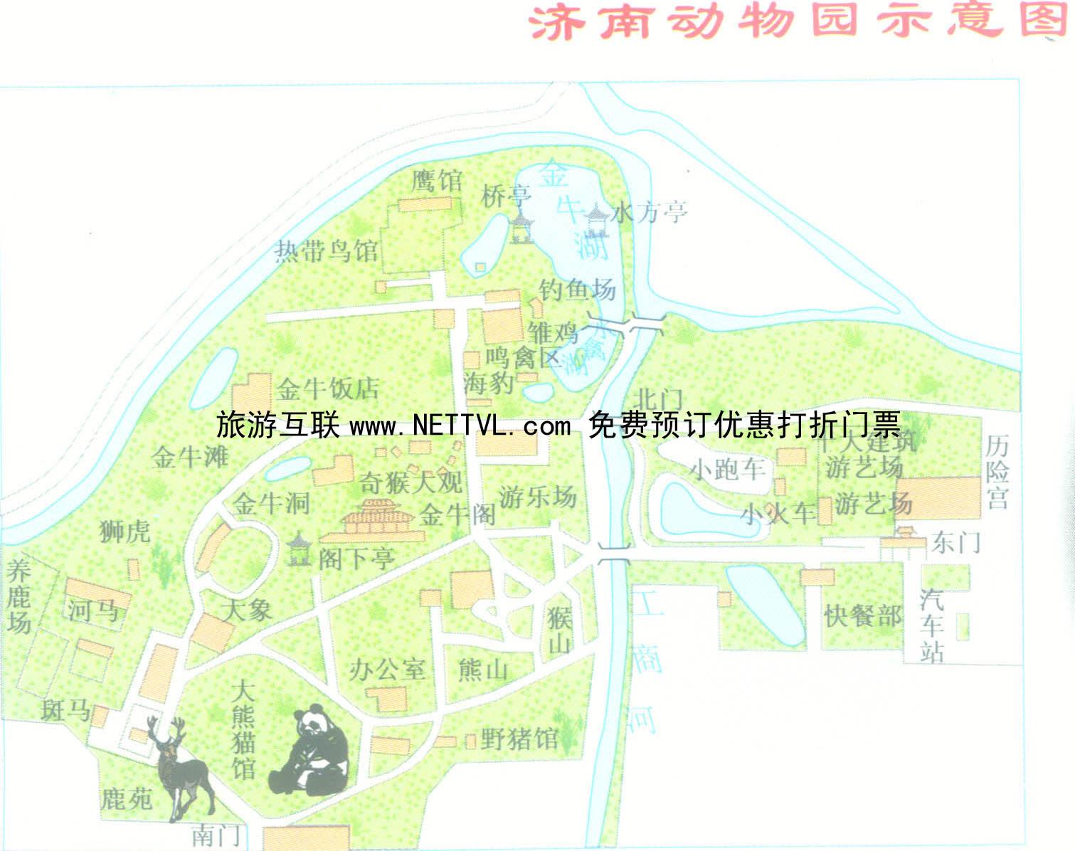 济南野生动物园导游地图(济南动物园旅游地图