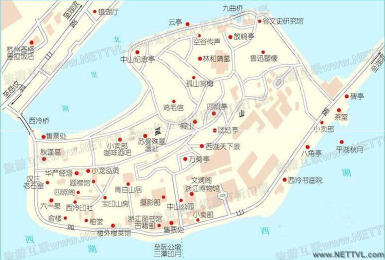首页 旅游地图 景点导游图 浙江旅游景点地图 杭州孤山导游地图