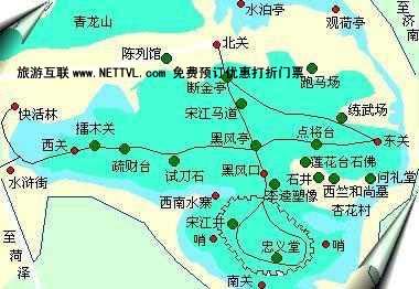 景点导游图 山东旅游景点地图 水泊梁山导游地图   梁山旅游风景区