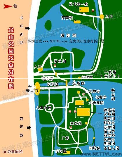 金山寺导游地图(镇江市金山公园旅游地图