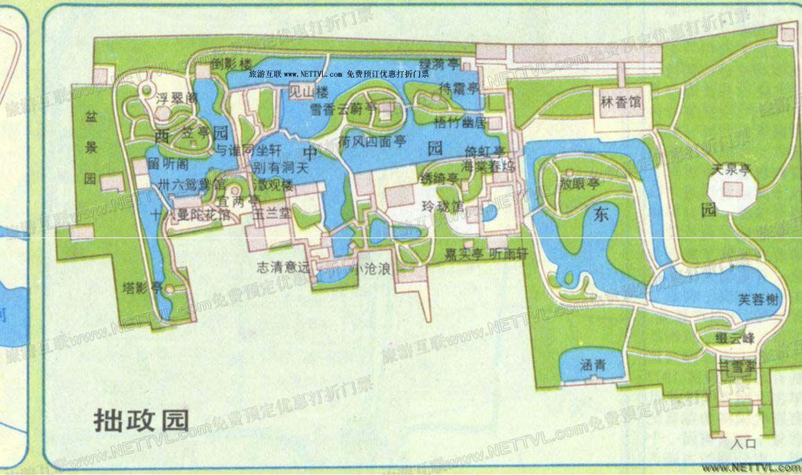 拙政园导游地图(苏州拙政园旅游地图 - 打印页 - 旅游