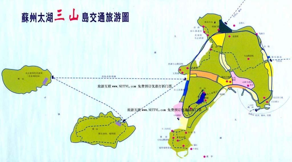三山岛旅游地图 太湖三山岛景区地图 2017苏州太湖岛.