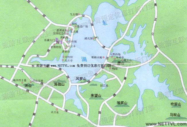 东湖景区导游地图(武汉东湖旅游地图图片