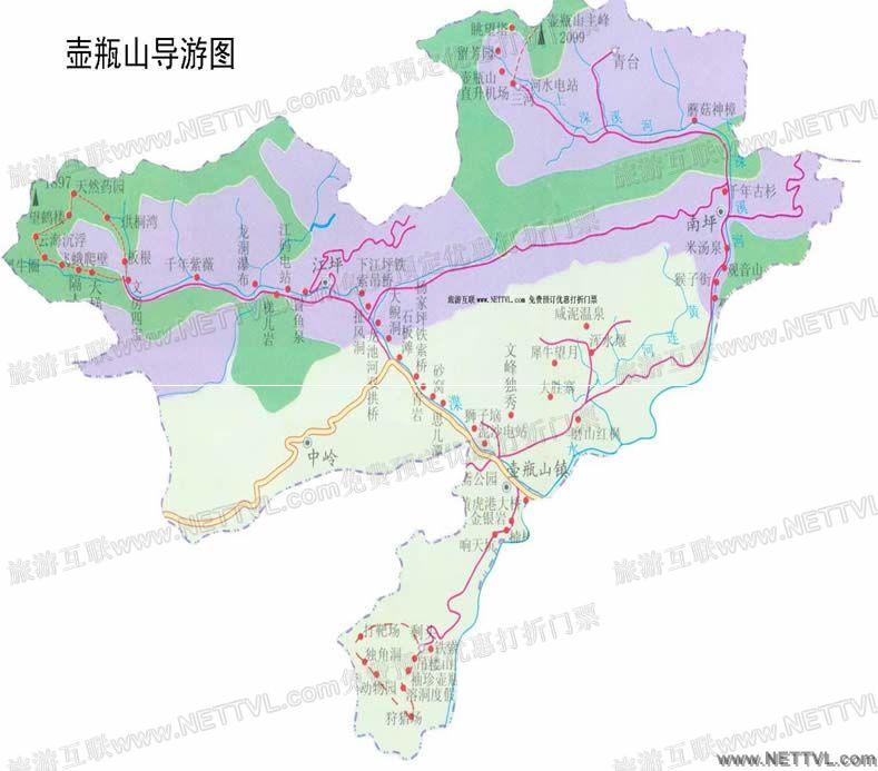 壶瓶山导游地图(湖南壶瓶山旅游地图