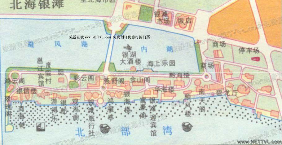 北海银滩导游地图(广西北海银滩旅游地图