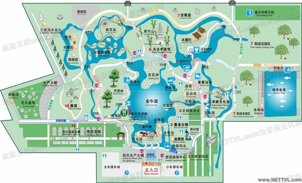 呈现出农耕园,植物园,动物园,园林园的巨幅画卷.