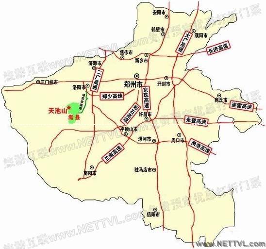 洛阳天池山地图(嵩县天池山交通地图