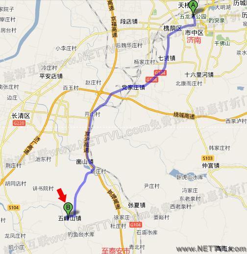 五峰山地图(济南五峰山景区交通地图