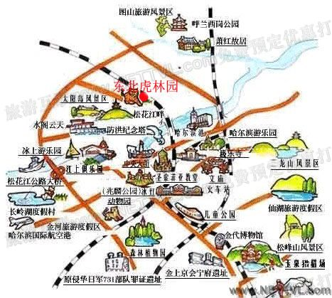 首页 旅游地图 景点交通图 黑龙江旅游地图 哈尔滨东北虎林园地图