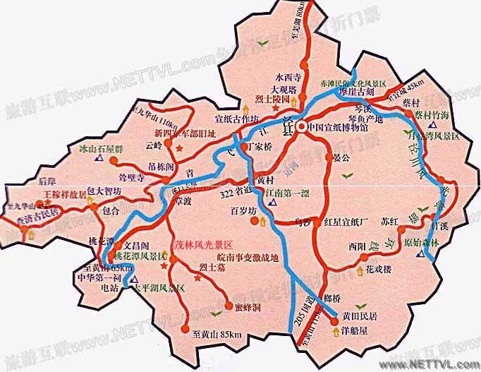茂林风景区地图_泾县茂林风景区交通地图【旅游互联】