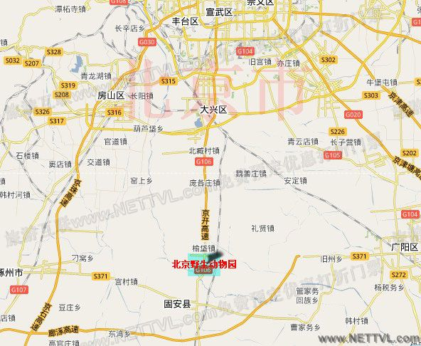 北京野生动物园地图(北京大兴野生动物园交通地图