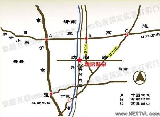观唐温泉地图 临沂观唐温泉交通地图