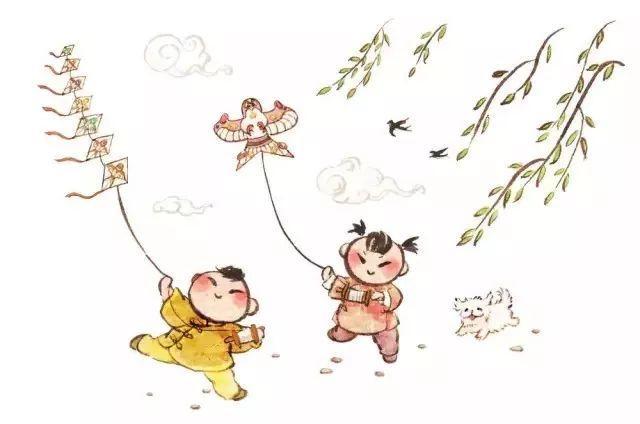放风筝的人卡通简笔画